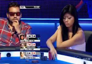 美女Xuan挤压式打法赶走WSOP金手链得住John Juanda