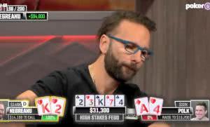 【辣眼视频】Polk在牌面2-3-K-7-4演顺子,丹牛的两对能顶得住吗?