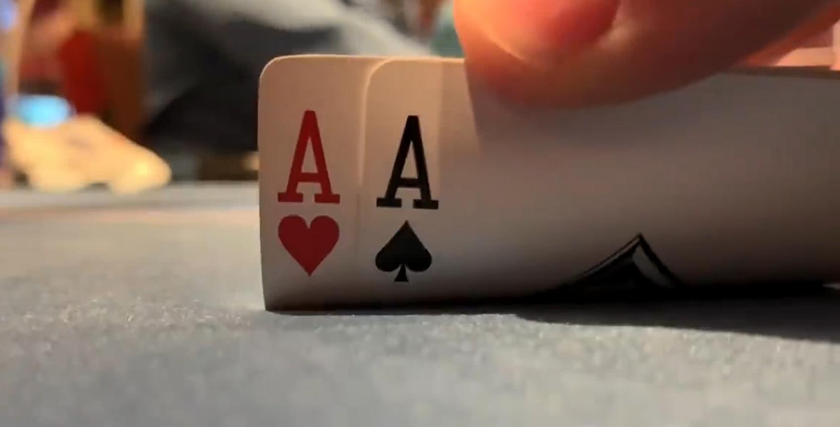【辣眼视频】AA翻牌中A不敢大力卷钱,打到最后看到对手的牌真是太庆幸了